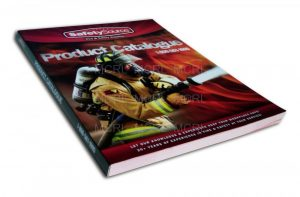 a picture of a book entitled product catalog and a picture of a firefighter