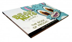 """an image of a story book and a bunny at the right side with a text """"bear nuts volume 1"""""""