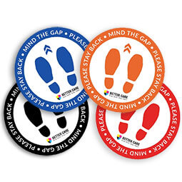 Mind The Gap Floor Stickers - Set of 6 with 4 colors